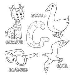 Cute giraffe goose glasses gull for letter g vector