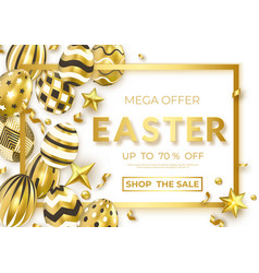 easter horizontal sale banner with realistic vector image