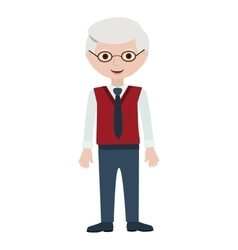 Elderly man with formal suit and glasses vector