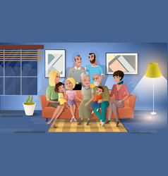 family three generations together cartoon vector image