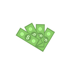 fan of green dollar paper banknotes isolated on vector image