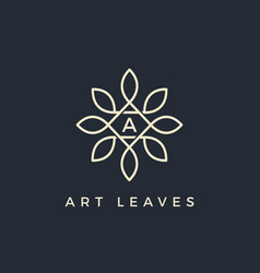 flat floral leaves initial letter type a logo vector image