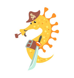 Funny cartoon seahorse pirate in a hat smoking vector