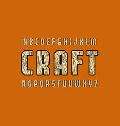 geometric sans serif font with wooden texture vector image