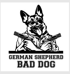 German shepherd dog with glasses two guns and vector