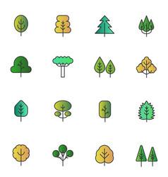 gradient color flat line trees folliage set vector image