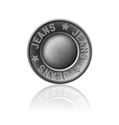 Gray metal button with inscription jeans vector