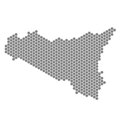 grey hexagon sicilia map vector image