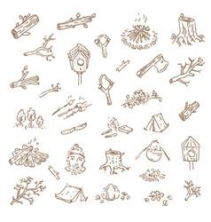 hand drawn sketch of camping vector image