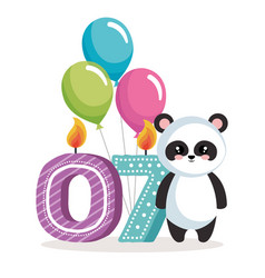 Happy birthday card with bear panda vector