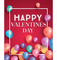 Happy valentines day card with flying balloons vector image