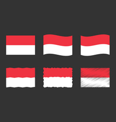 Indonesia flag set official colors and proportion vector