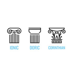 ionic orders ancient greece ionic dorian vector image