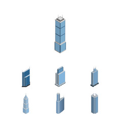 isometric building set of skyscraper business vector image
