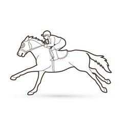 Jockey riding horse cartoon sport graphic vector