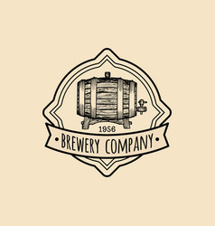 kraft beer barrel logo old brewery icon hand vector image