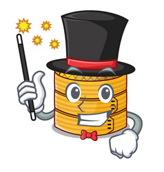 Magician wooden steamed food container on cartoon vector