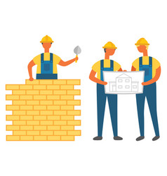 Man building wall with bricks engineers with plan vector