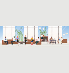 mix race businesspeople relaxing communicating vector image