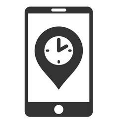 Mobile time pointer flat icon vector