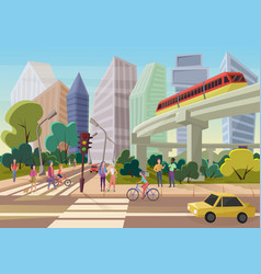 Modern urban cartoon city street with young people vector