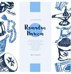 Muslim symbols - hand drawn banner vector