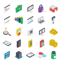 pack logistics isometric icons vector image