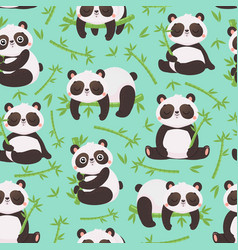 panda and bamboo seamless pattern cute pandas vector image