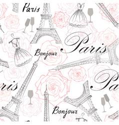 paris city seamless pattern travel france tile vector image