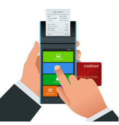 payment machine and credit card pos vector image