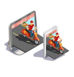 Pizza online delivery concept vector