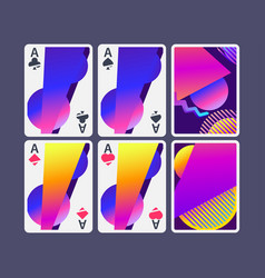 playing cards in modern style gradient shapes vector image