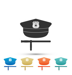 police cap and rubber baton security truncheons vector image