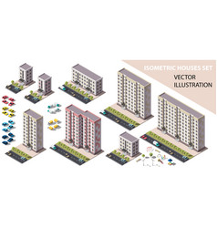 Public residential buildings isometry set vector