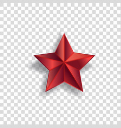 red star symbol with realistic shadow and pointed vector image