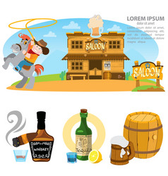 Saloon set of wild west cowboy alcohol vector