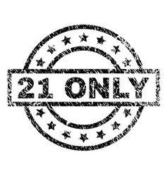scratched textured 21 only stamp seal vector image