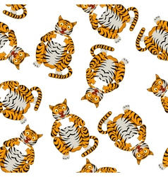 Seamless Funny Cartoon Tiger vector image