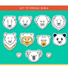 Set 9 muzzles stickers bears handmade linear style vector