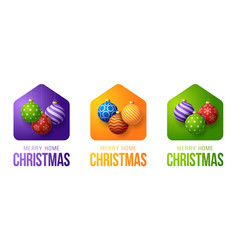 set colorful merry home christmas 2020 card vector image