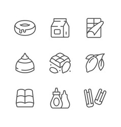 set line icons cacao and chocolate vector image