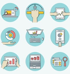Set of data analytics icons for business - part 1 vector image