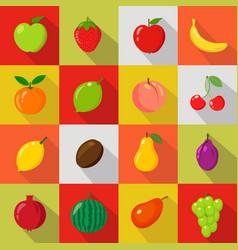 set of flat icons fresh natural fruits vector image
