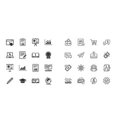 set of statistics education and study icons vector image