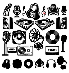 Set retro template for karaoke disco party vector