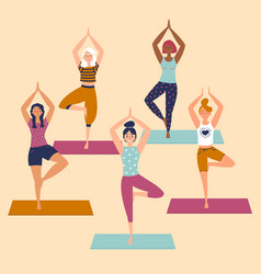 set with beautiful women in vrkasana pose of yoga vector image