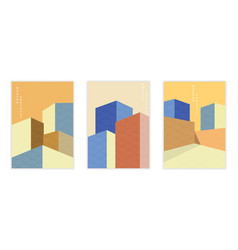set with geometric architecture background vector image