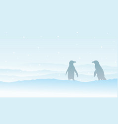 silhouette penguin on snow landscape vector image