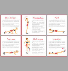 Slow climbers plank posters vector