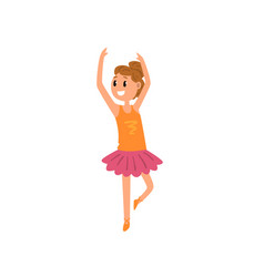 Smiling ballet girl character in pink tutu dress vector